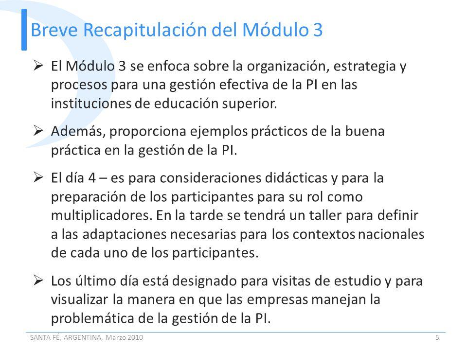 Breve Recapitulación del Módulo 3 SANTA FÉ, ARGENTINA, Marzo 20105 El Módulo 3 se enfoca sobre la organización, estrategia y procesos para una gestión