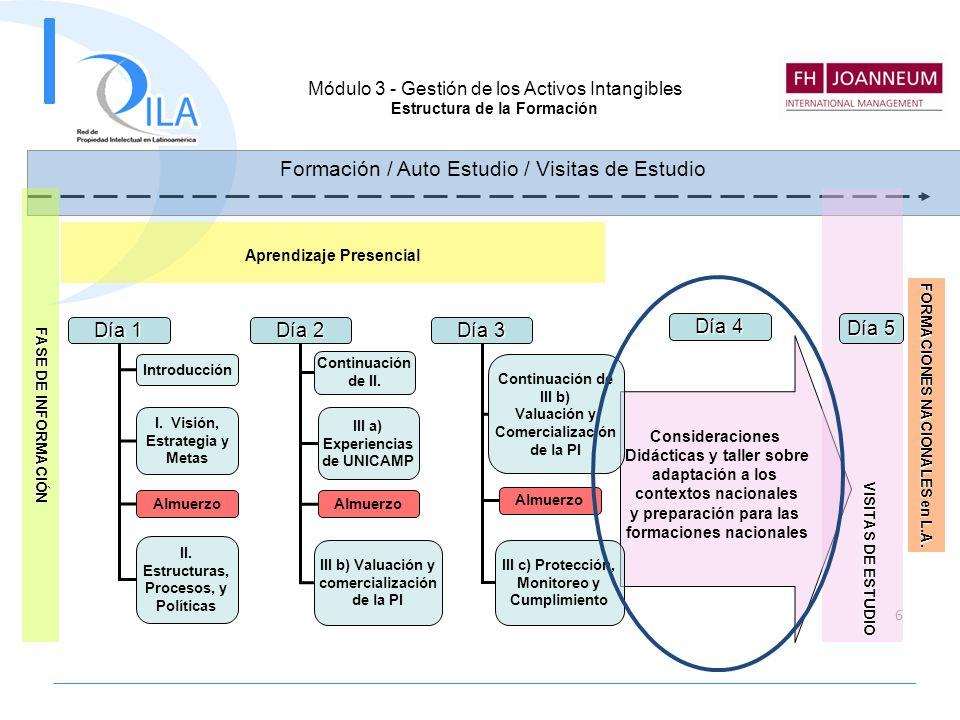 6 Día 1 Introducción I. Visión, Estrategia y Metas Almuerzo II. Estructuras, Procesos, y Políticas Día 2 Continuación de II. III a) Experiencias de UN