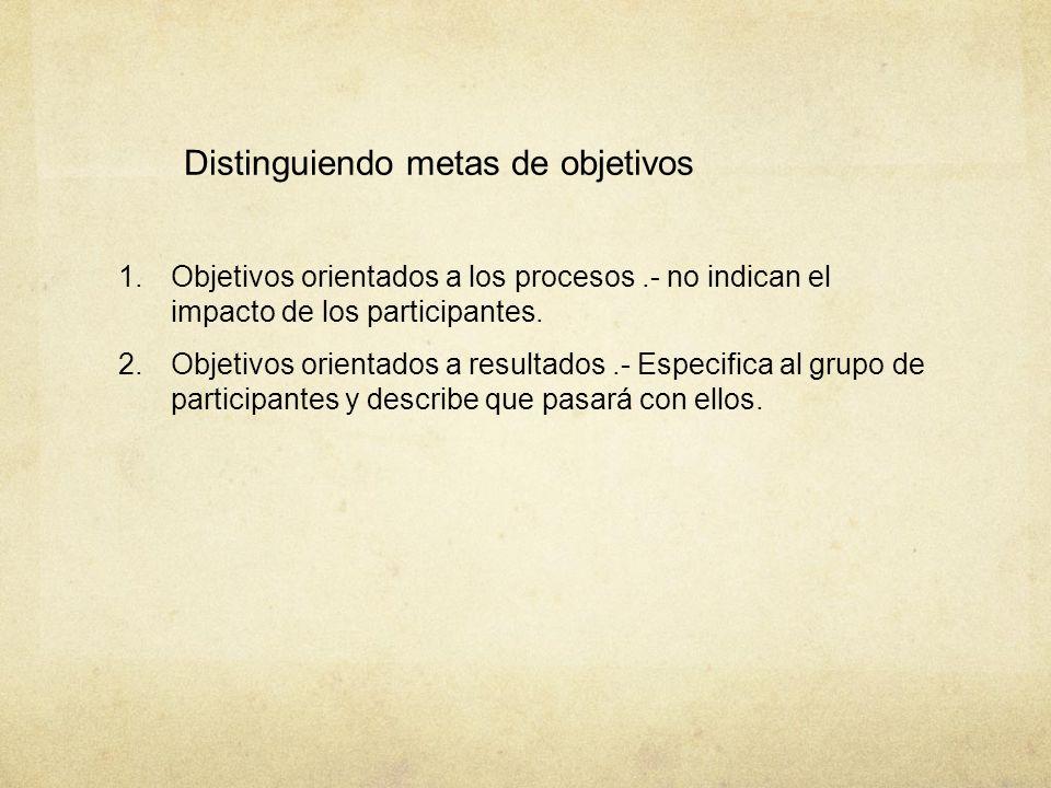 Distinguiendo metas de objetivos 1. Objetivos orientados a los procesos.- no indican el impacto de los participantes. 2. Objetivos orientados a result