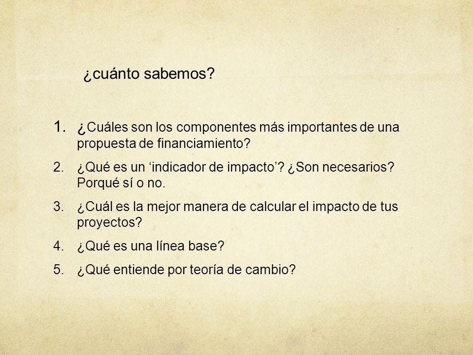 ¿cuánto sabemos? 1. ¿ Cuáles son los componentes más importantes de una propuesta de financiamiento? 2. ¿Qué es un indicador de impacto? ¿Son necesari