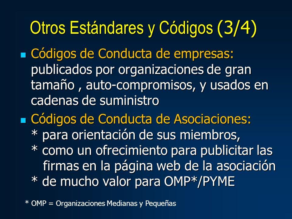 Códigos de Conducta de empresas: publicados por organizaciones de gran tamaño, auto-compromisos, y usados en cadenas de suministro Códigos de Conducta de empresas: publicados por organizaciones de gran tamaño, auto-compromisos, y usados en cadenas de suministro Códigos de Conducta de Asociaciones: * para orientación de sus miembros, * como un ofrecimiento para publicitar las firmas en la página web de la asociación * de mucho valor para OMP*/PYME Códigos de Conducta de Asociaciones: * para orientación de sus miembros, * como un ofrecimiento para publicitar las firmas en la página web de la asociación * de mucho valor para OMP*/PYME Otros Estándares y Códigos (3/4) * OMP = Organizaciones Medianas y Pequeñas