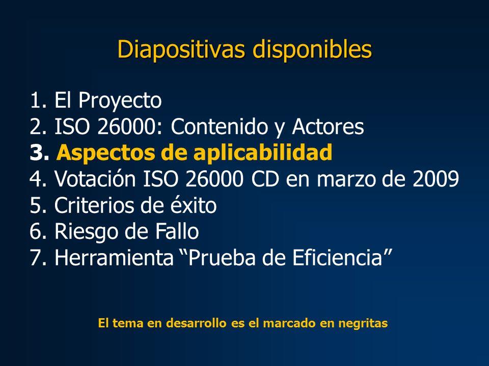 Diapositivas disponibles 1. El Proyecto 2. ISO 26000: Contenido y Actores 3.