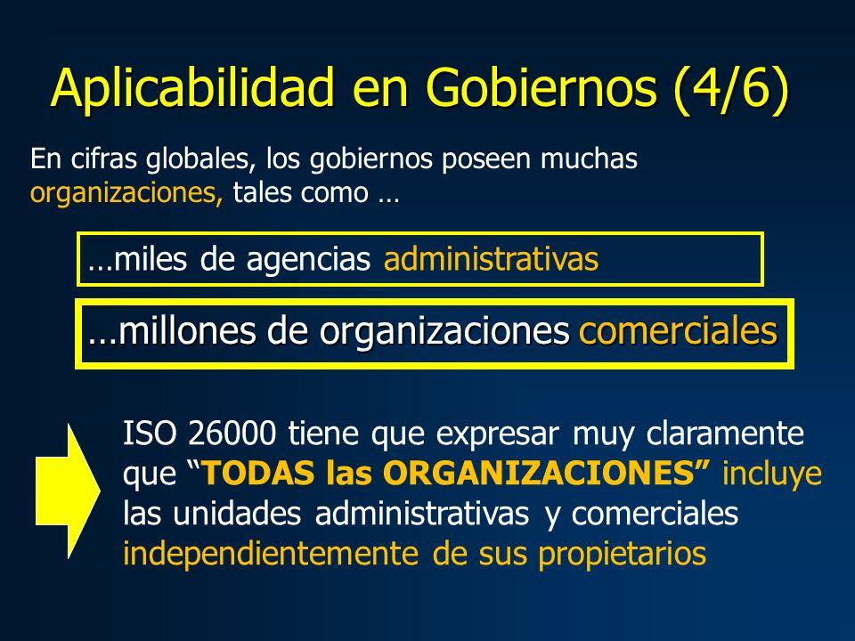 …millones de organizaciones comerciales En cifras globales, los gobiernos poseen muchas organizaciones, tales como … …miles de agencias administrativas ISO 26000 tiene que expresar muy claramente que TODAS las ORGANIZACIONES incluye las unidades administrativas y comerciales independientemente de sus propietarios Aplicabilidad en Gobiernos (4/6)