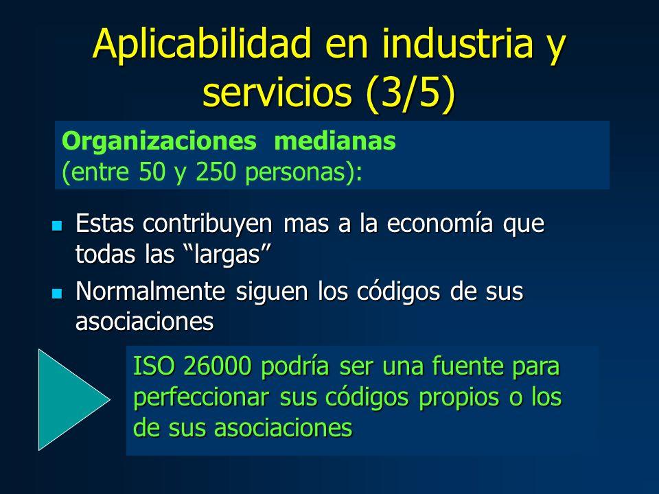 Estas contribuyen mas a la economía que todas las largas Estas contribuyen mas a la economía que todas las largas Normalmente siguen los códigos de sus asociaciones Normalmente siguen los códigos de sus asociaciones Organizaciones medianas (entre 50 y 250 personas): ISO 26000 podría ser una fuente para perfeccionar sus códigos propios o los de sus asociaciones Aplicabilidad en industria y servicios (3/5)