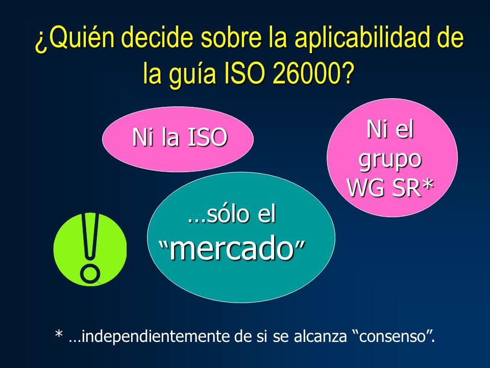 ¿Quién decide sobre la aplicabilidad de la guía ISO 26000.