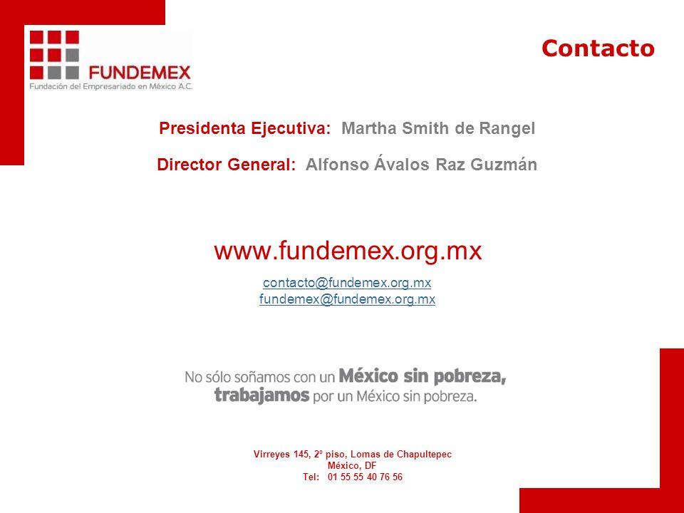 Presidenta Ejecutiva: Martha Smith de Rangel Director General: Alfonso Ávalos Raz Guzmán www.fundemex.org.mx contacto@fundemex.org.mx fundemex@fundemex.org.mx Virreyes 145, 2º piso, Lomas de Chapultepec México, DF Tel: 01 55 55 40 76 56 Contacto