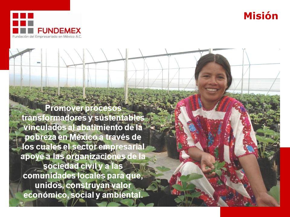 Promover procesos transformadores y sustentables vinculados al abatimiento de la pobreza en México a través de los cuales el sector empresarial apoye a las organizaciones de la sociedad civil y a las comunidades locales para que, unidos, construyan valor económico, social y ambiental.