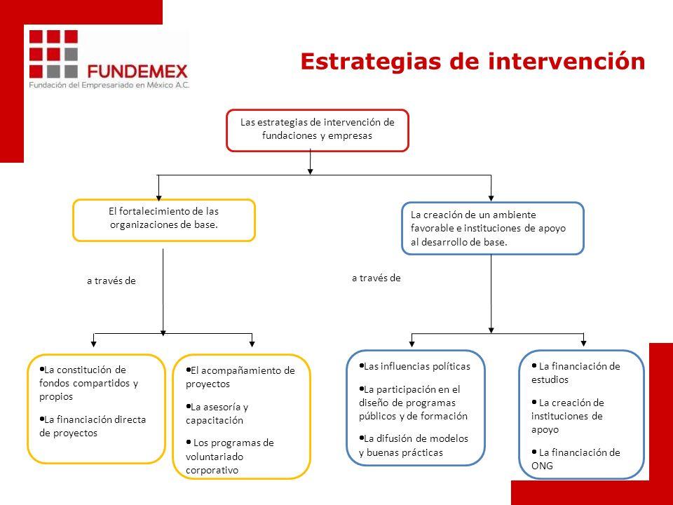 Las estrategias de intervención de fundaciones y empresas La creación de un ambiente favorable e instituciones de apoyo al desarrollo de base.