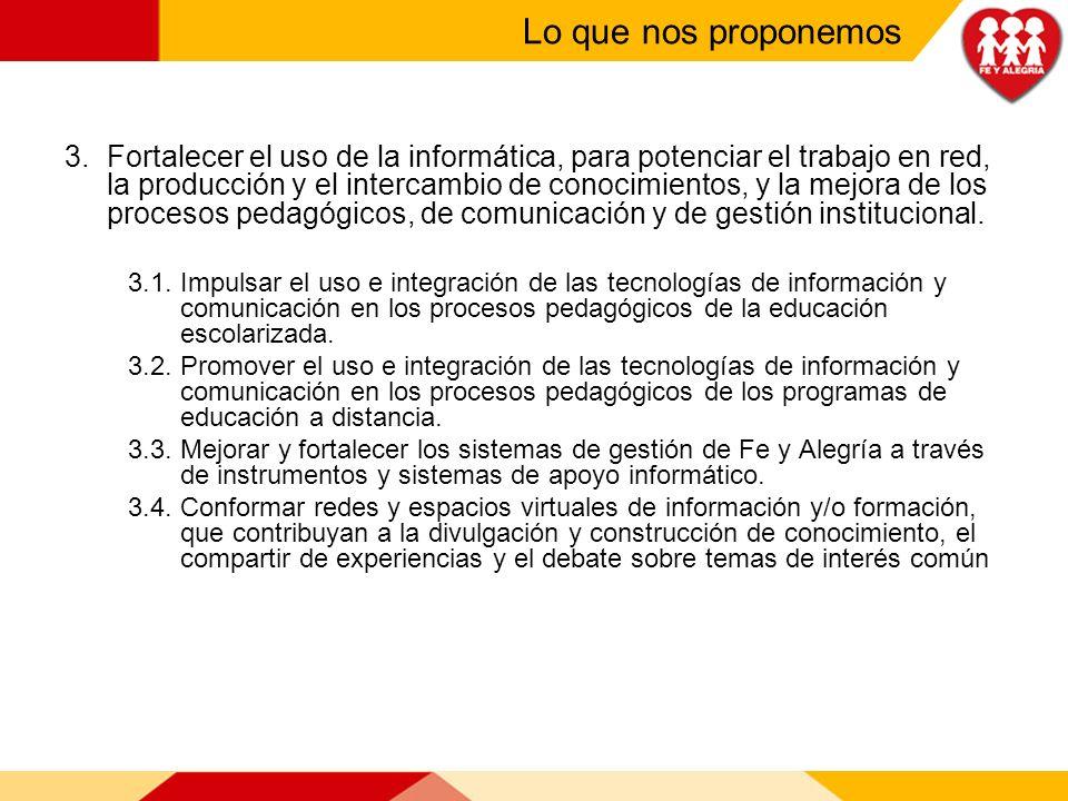 3.Fortalecer el uso de la informática, para potenciar el trabajo en red, la producción y el intercambio de conocimientos, y la mejora de los procesos