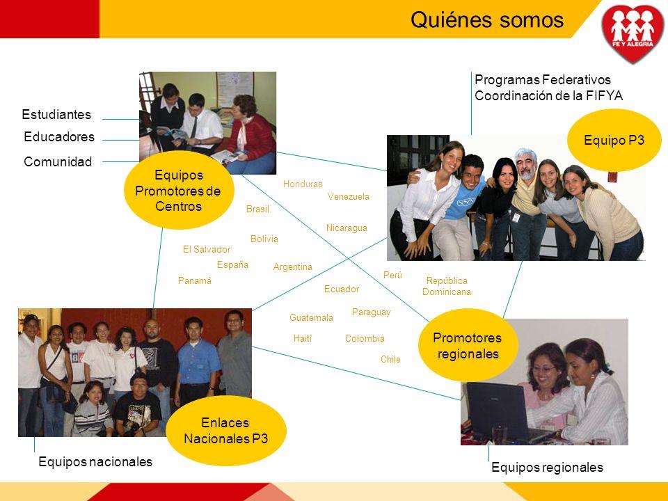 Quiénes somos Equipo P3 Promotores regionales Enlaces Nacionales P3 Equipos Promotores de Centros Educadores Comunidad Estudiantes Programas Federativ