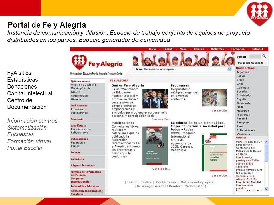 Portal de Fe y Alegría Instancia de comunicación y difusión. Espacio de trabajo conjunto de equipos de proyecto distribuidos en los países. Espacio ge