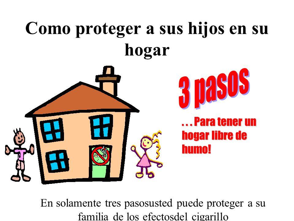 Como proteger a sus hijos en su hogar En solamente tres pasosusted puede proteger a su familia de los efectosdel cigarillo... Para tener un hogar libr