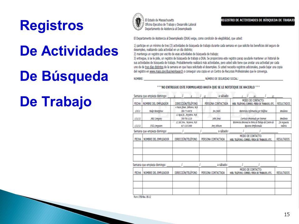 15 Registros De Actividades De Búsqueda De Trabajo