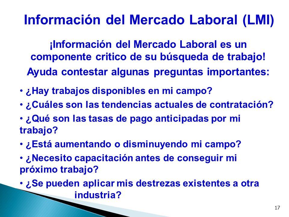 17 Información del Mercado Laboral (LMI) ¡Información del Mercado Laboral es un componente critico de su búsqueda de trabajo! Ayuda contestar algunas