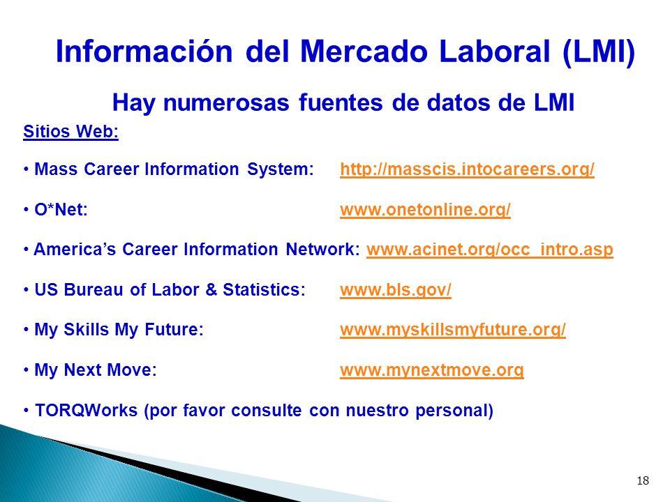 18 Información del Mercado Laboral (LMI) Hay numerosas fuentes de datos de LMI Sitios Web: Mass Career Information System: http://masscis.intocareers.