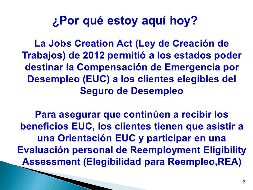 Job Quest es la bolsa estatal de trabajos por internet – parecida a otros sitios internet de búsqueda de trabajo Como parte de su elegibildad para EUC, se le exigirá inscribirse en el sitio Web de Job Quest: www.mass.gov/JobQuest Beneficios: Colocar currículos en el sitio Web, compaginar individuos con trabajos adecuados