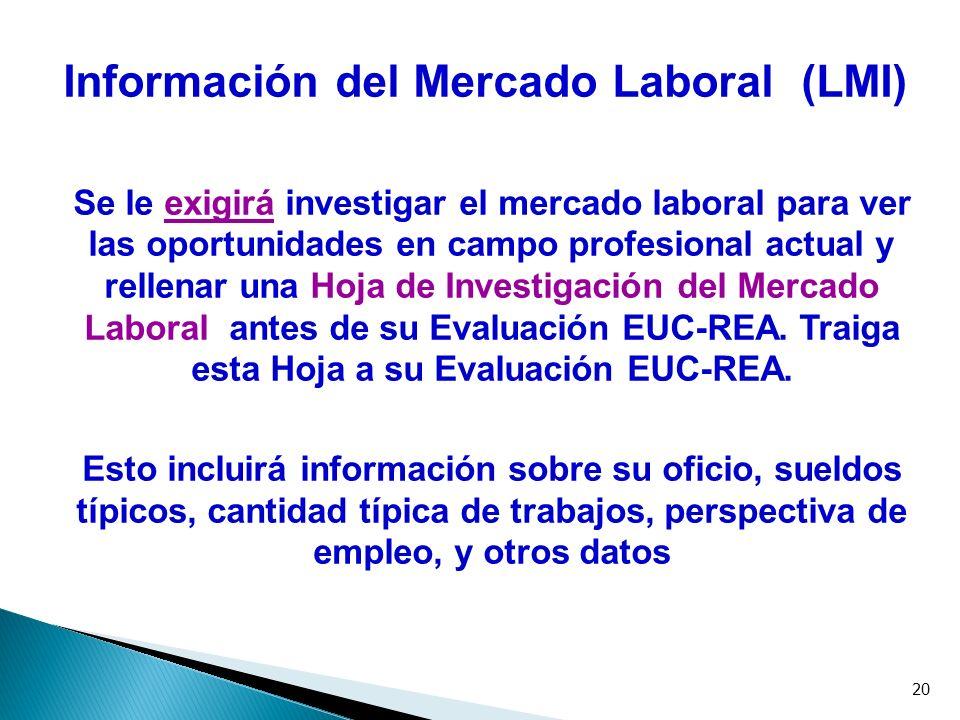 20 Información del Mercado Laboral (LMI) Se le exigirá investigar el mercado laboral para ver las oportunidades en campo profesional actual y rellenar