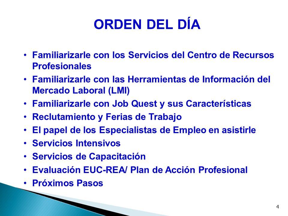 4 ORDEN DEL DÍA Familiarizarle con los Servicios del Centro de Recursos Profesionales Familiarizarle con las Herramientas de Información del Mercado L
