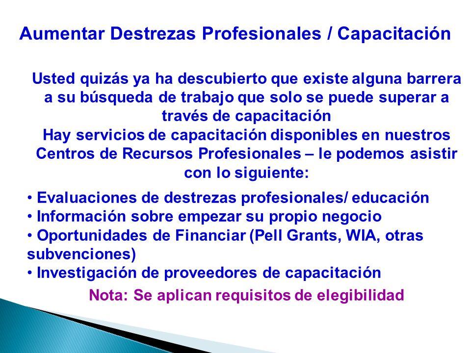 Aumentar Destrezas Profesionales / Capacitación Usted quizás ya ha descubierto que existe alguna barrera a su búsqueda de trabajo que solo se puede su