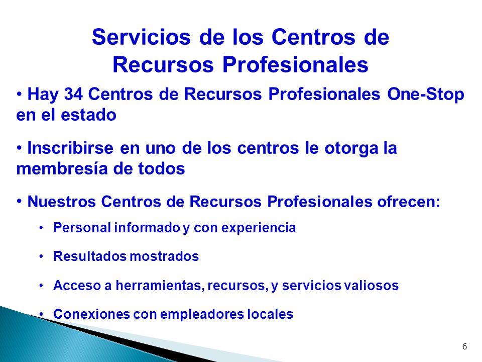 Los Centros de Recursos Profesionales le ayudaran a: Prepararse a buscar su próximo trabajo Explorar opciones para aumentar sus destrezas Acceso a servicios especializados Conectarse con recursos comunitarios