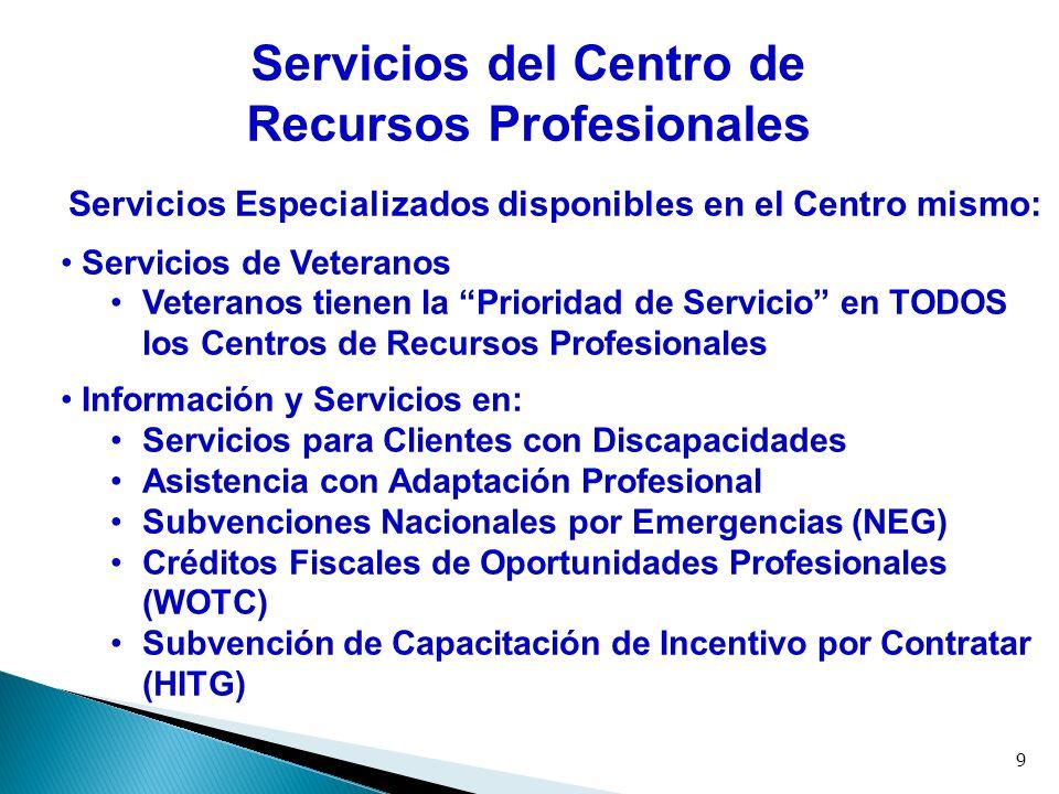 9 Servicios del Centro de Recursos Profesionales Servicios Especializados disponibles en el Centro mismo: Servicios de Veteranos Veteranos tienen la P