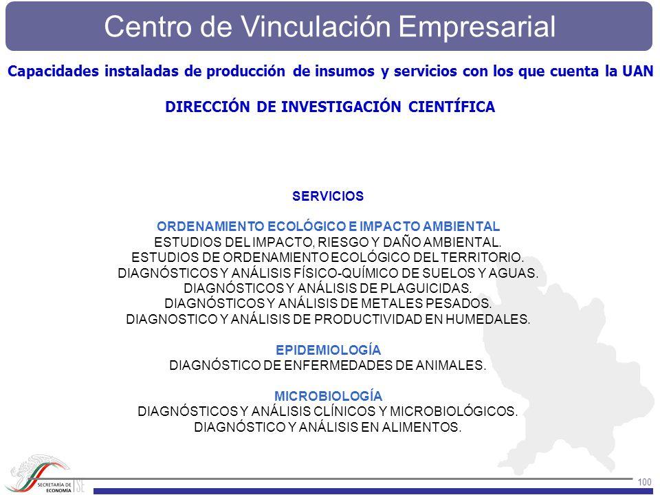 Centro de Vinculación Empresarial 100 SERVICIOS ORDENAMIENTO ECOLÓGICO E IMPACTO AMBIENTAL ESTUDIOS DEL IMPACTO, RIESGO Y DAÑO AMBIENTAL. ESTUDIOS DE