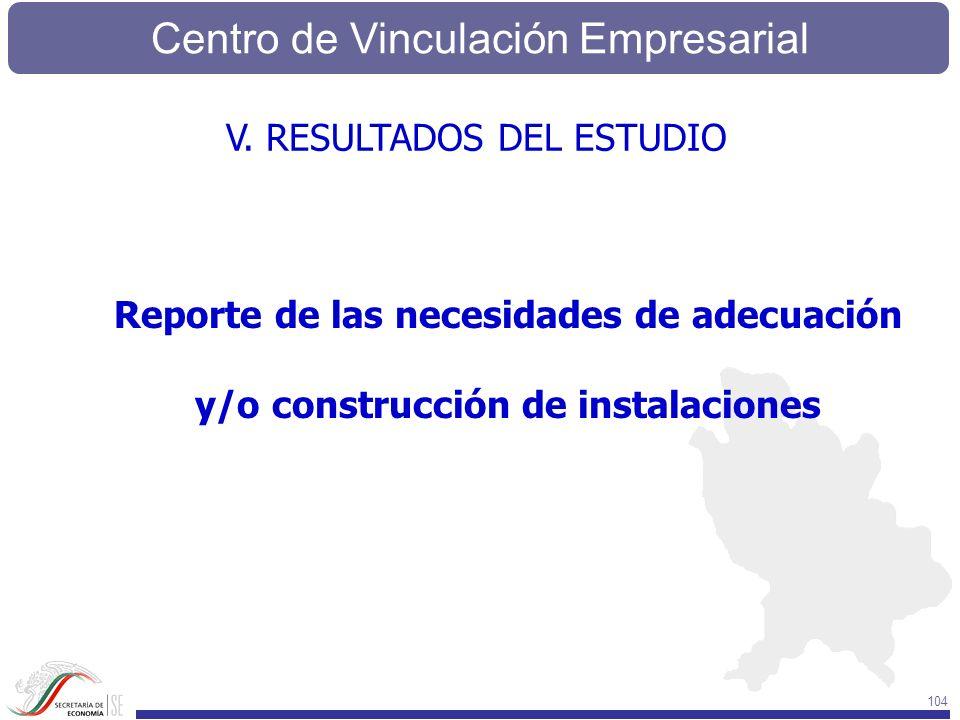 Centro de Vinculación Empresarial 104 Reporte de las necesidades de adecuación y/o construcción de instalaciones V. RESULTADOS DEL ESTUDIO