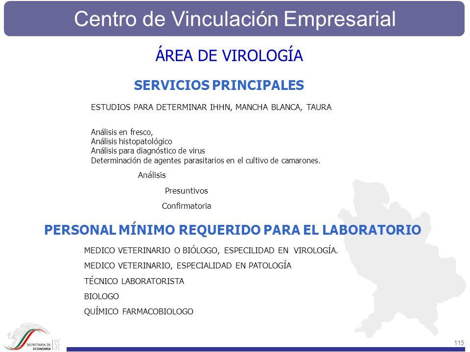 Centro de Vinculación Empresarial 115 SERVICIOS PRINCIPALES PERSONAL MÍNIMO REQUERIDO PARA EL LABORATORIO ESTUDIOS PARA DETERMINAR IHHN, MANCHA BLANCA