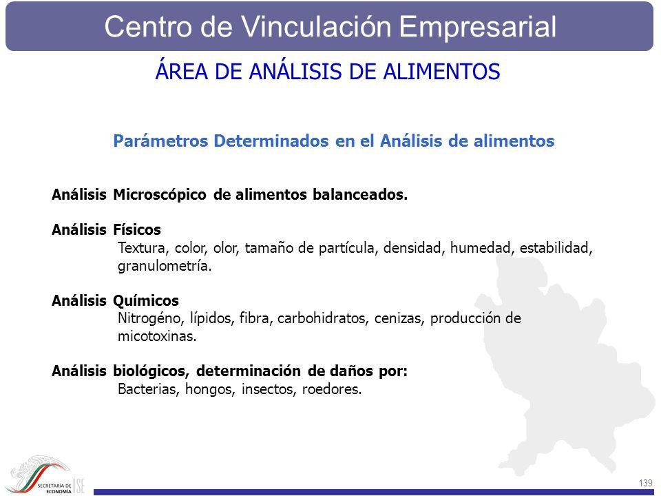 Centro de Vinculación Empresarial 139 Parámetros Determinados en el Análisis de alimentos Análisis Microscópico de alimentos balanceados. Análisis Fís