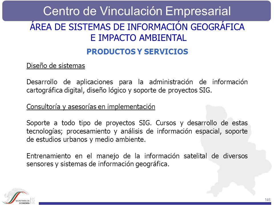Centro de Vinculación Empresarial 146 ÁREA DE SISTEMAS DE INFORMACIÓN GEOGRÁFICA E IMPACTO AMBIENTAL Diseño de sistemas Desarrollo de aplicaciones par