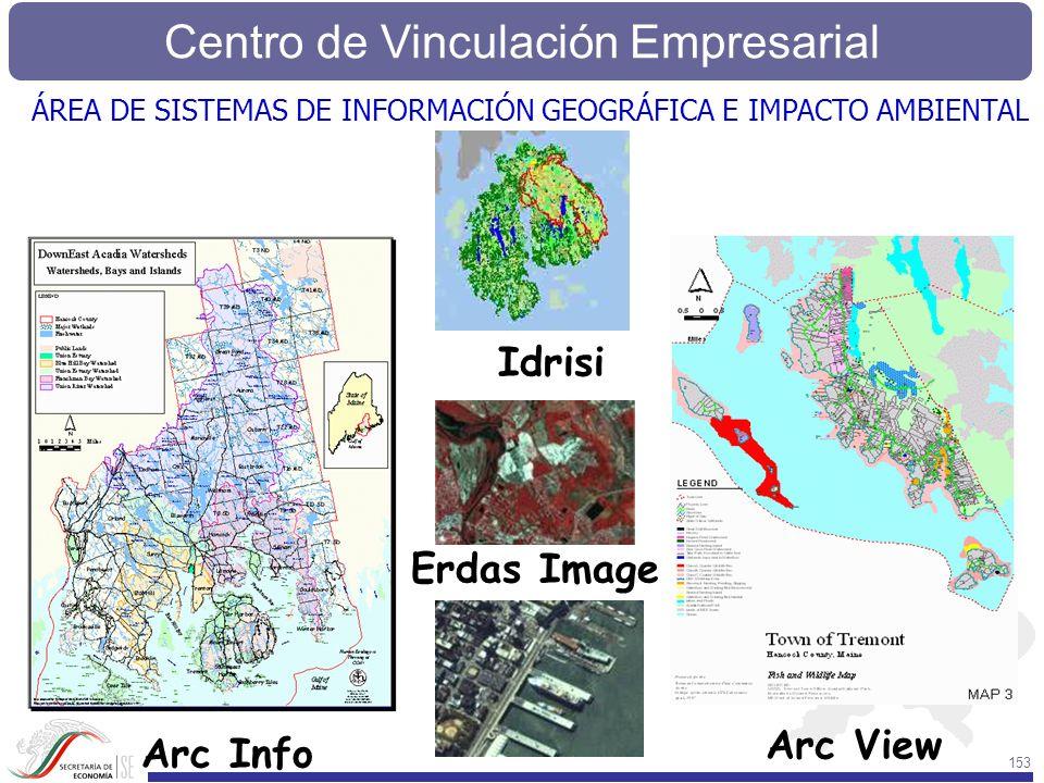 Centro de Vinculación Empresarial 153 Arc View Erdas Image Idrisi Arc Info ÁREA DE SISTEMAS DE INFORMACIÓN GEOGRÁFICA E IMPACTO AMBIENTAL