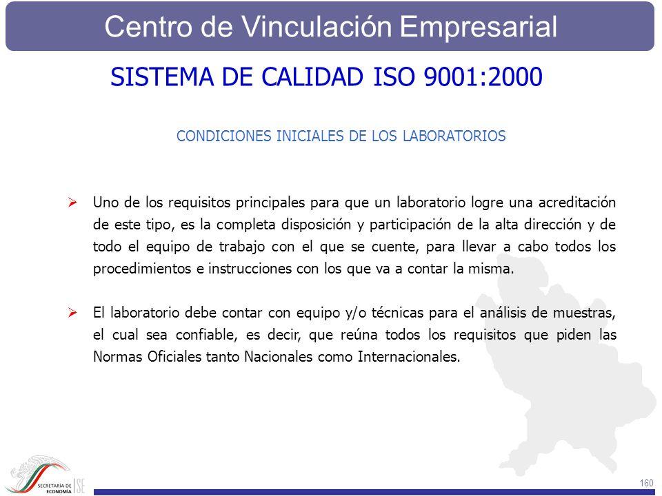 Centro de Vinculación Empresarial 160 CONDICIONES INICIALES DE LOS LABORATORIOS Uno de los requisitos principales para que un laboratorio logre una ac