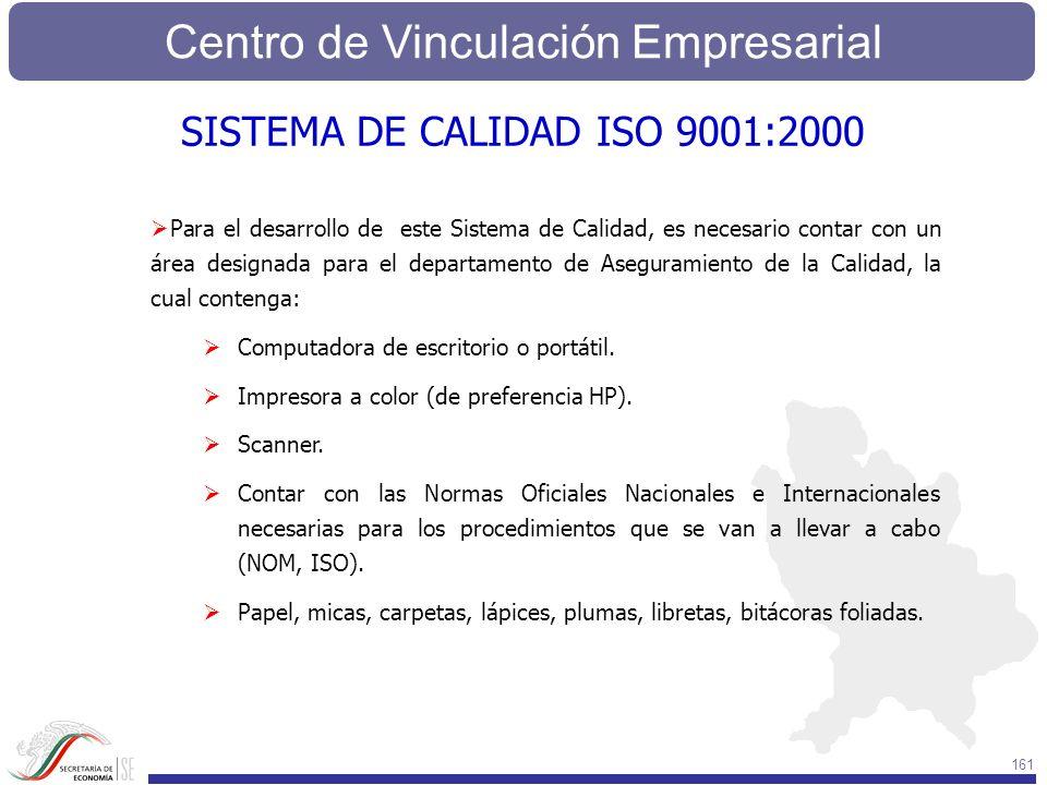 Centro de Vinculación Empresarial 161 Para el desarrollo de este Sistema de Calidad, es necesario contar con un área designada para el departamento de