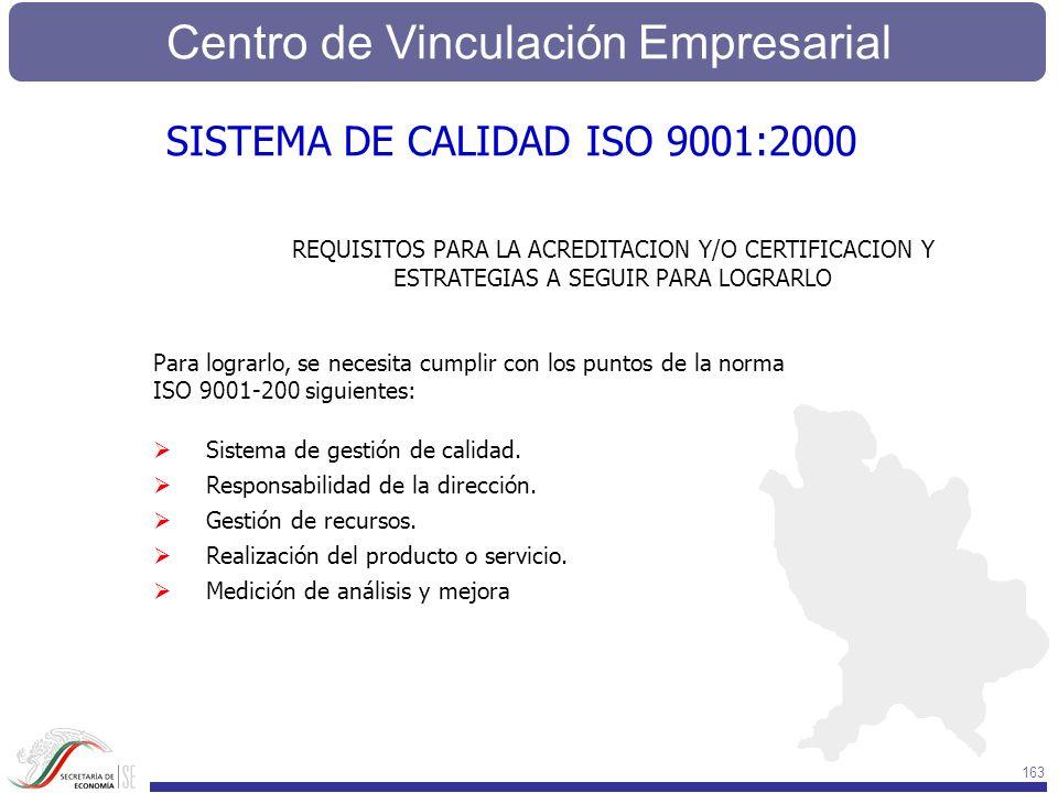 Centro de Vinculación Empresarial 163 REQUISITOS PARA LA ACREDITACION Y/O CERTIFICACION Y ESTRATEGIAS A SEGUIR PARA LOGRARLO Para lograrlo, se necesit
