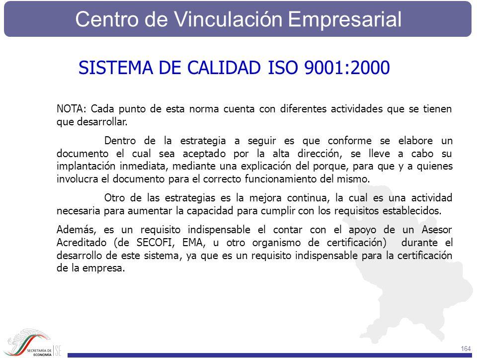 Centro de Vinculación Empresarial 164 NOTA: Cada punto de esta norma cuenta con diferentes actividades que se tienen que desarrollar. Dentro de la est