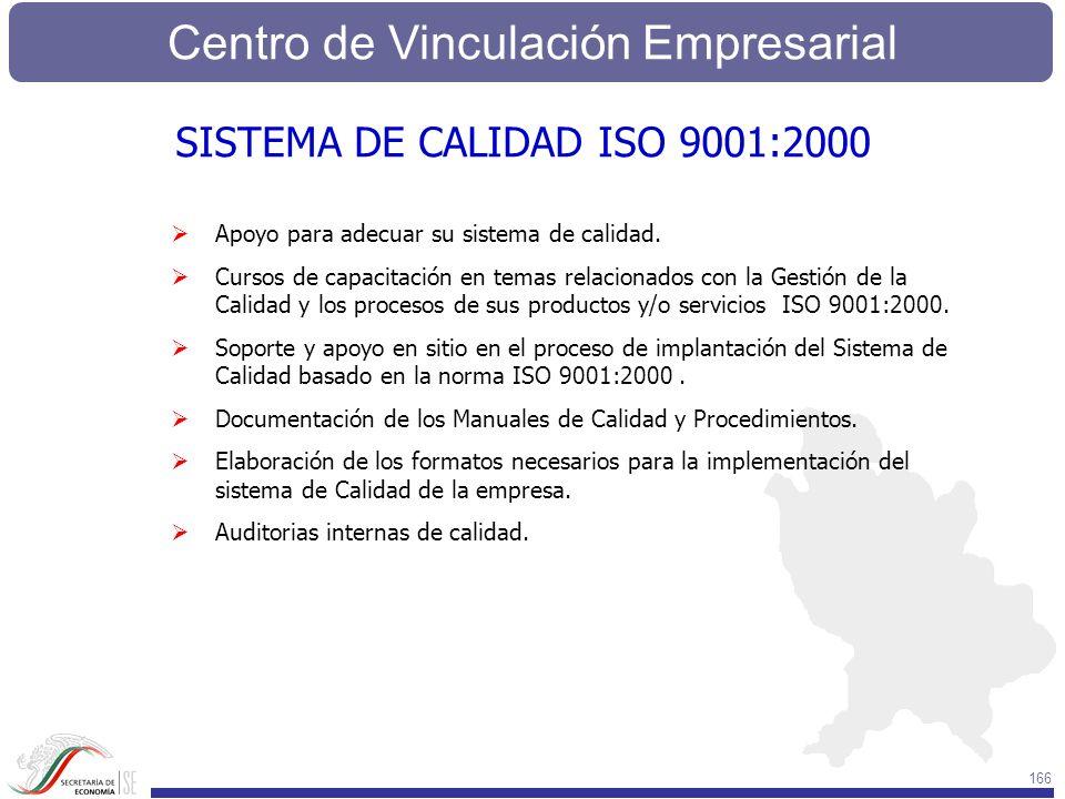 Centro de Vinculación Empresarial 166 Apoyo para adecuar su sistema de calidad. Cursos de capacitación en temas relacionados con la Gestión de la Cali