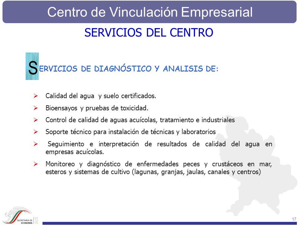 Centro de Vinculación Empresarial 17 ERVICIOS DE DIAGNÓSTICO Y ANALISIS DE: S SERVICIOS DEL CENTRO Calidad del agua y suelo certificados. Bioensayos y