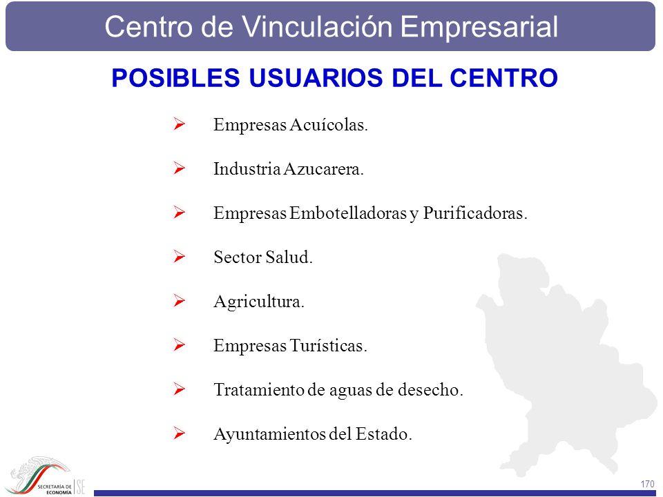 Centro de Vinculación Empresarial 170 Empresas Acuícolas. Industria Azucarera. Empresas Embotelladoras y Purificadoras. Sector Salud. Agricultura. Emp