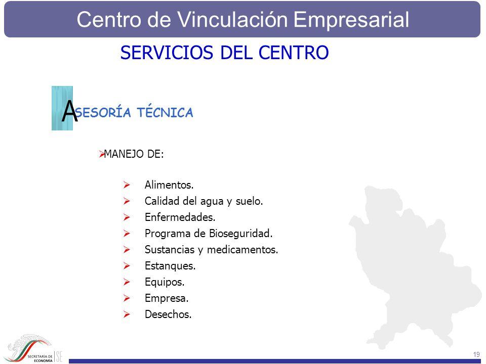 Centro de Vinculación Empresarial 19 SESORÍA TÉCNICA MANEJO DE: Alimentos. Calidad del agua y suelo. Enfermedades. Programa de Bioseguridad. Sustancia