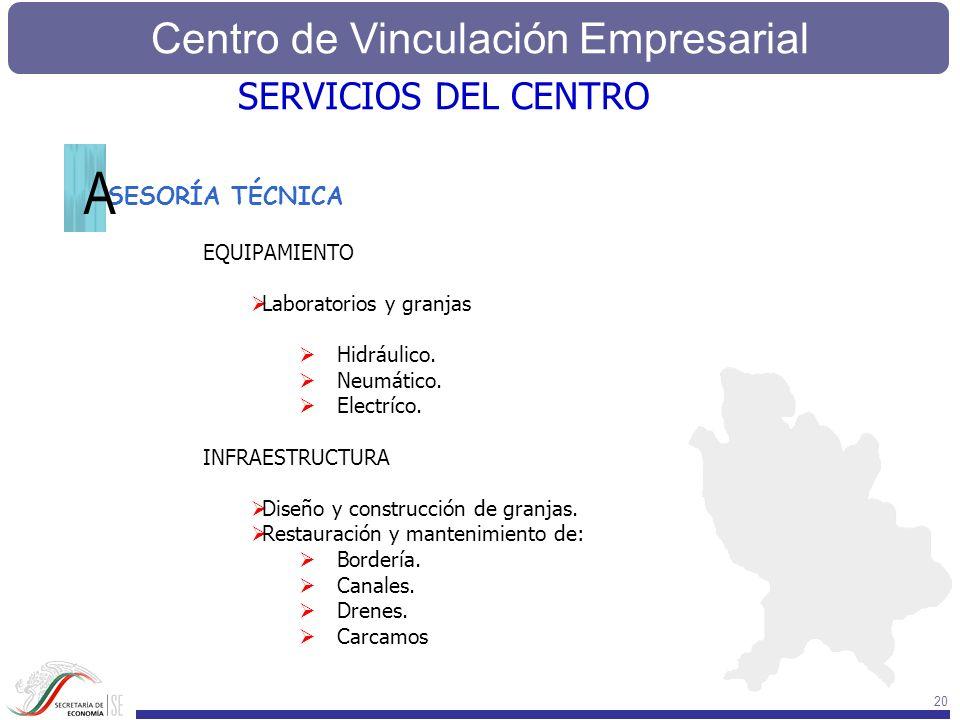 Centro de Vinculación Empresarial 20 SESORÍA TÉCNICA EQUIPAMIENTO Laboratorios y granjas Hidráulico. Neumático. Electríco. INFRAESTRUCTURA Diseño y co