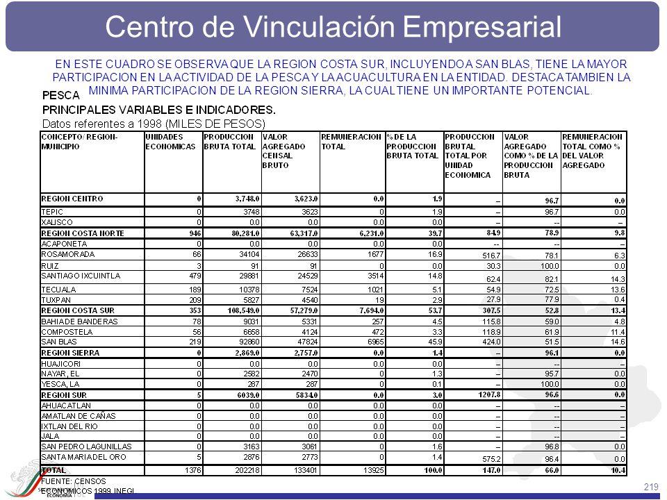 Centro de Vinculación Empresarial 219 EN ESTE CUADRO SE OBSERVA QUE LA REGION COSTA SUR, INCLUYENDO A SAN BLAS, TIENE LA MAYOR PARTICIPACION EN LA ACT