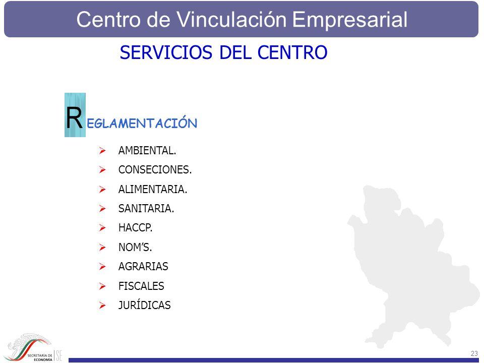 Centro de Vinculación Empresarial 23 SERVICIOS DEL CENTRO EGLAMENTACIÓN R AMBIENTAL. CONSECIONES. ALIMENTARIA. SANITARIA. HACCP. NOMS. AGRARIAS FISCAL