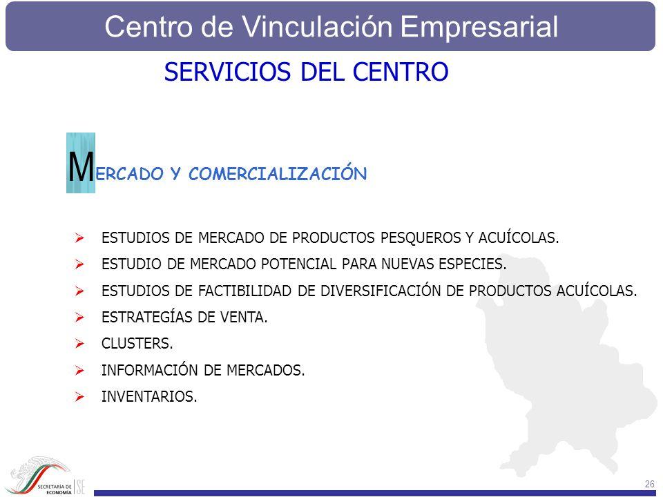 Centro de Vinculación Empresarial 26 SERVICIOS DEL CENTRO ERCADO Y COMERCIALIZACIÓN M ESTUDIOS DE MERCADO DE PRODUCTOS PESQUEROS Y ACUÍCOLAS. ESTUDIO