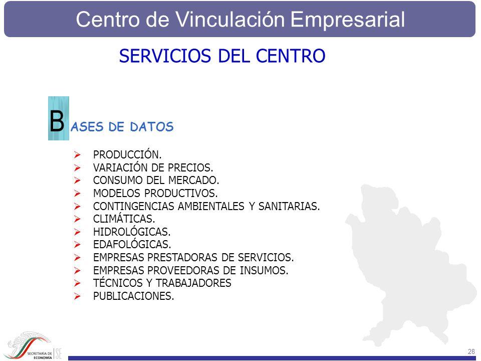 Centro de Vinculación Empresarial 28 SERVICIOS DEL CENTRO ASES DE DATOS B PRODUCCIÓN. VARIACIÓN DE PRECIOS. CONSUMO DEL MERCADO. MODELOS PRODUCTIVOS.