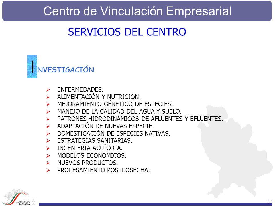 Centro de Vinculación Empresarial 29 SERVICIOS DEL CENTRO NVESTIGACIÓN I ENFERMEDADES. ALIMENTACIÓN Y NUTRICIÓN. MEJORAMIENTO GÉNETICO DE ESPECIES. MA