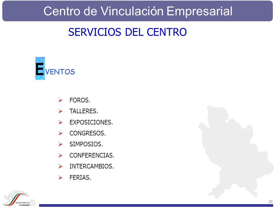 Centro de Vinculación Empresarial 30 SERVICIOS DEL CENTRO VENTOS E FOROS. TALLERES. EXPOSICIONES. CONGRESOS. SIMPOSIOS. CONFERENCIAS. INTERCAMBIOS. FE