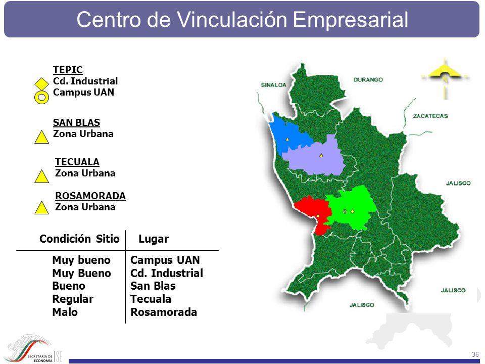 Centro de Vinculación Empresarial 36 Condición SitioLugar Muy bueno Muy Bueno Bueno Regular Malo Campus UAN Cd. Industrial San Blas Tecuala Rosamorada