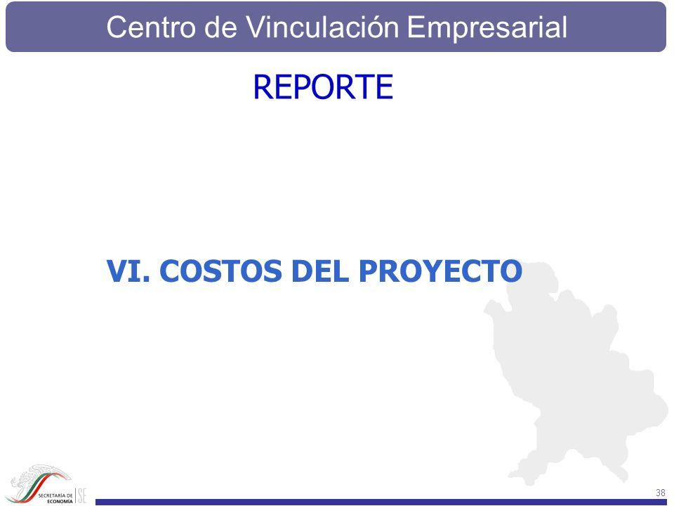 Centro de Vinculación Empresarial 38 VI. COSTOS DEL PROYECTO REPORTE