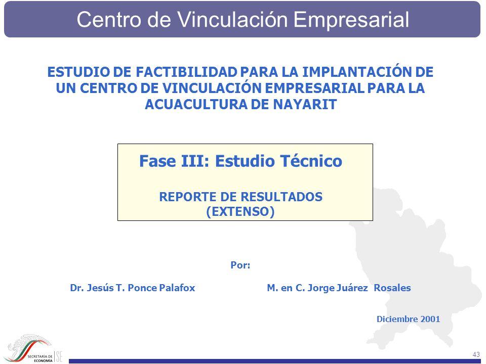 Centro de Vinculación Empresarial 43 ESTUDIO DE FACTIBILIDAD PARA LA IMPLANTACIÓN DE UN CENTRO DE VINCULACIÓN EMPRESARIAL PARA LA ACUACULTURA DE NAYAR