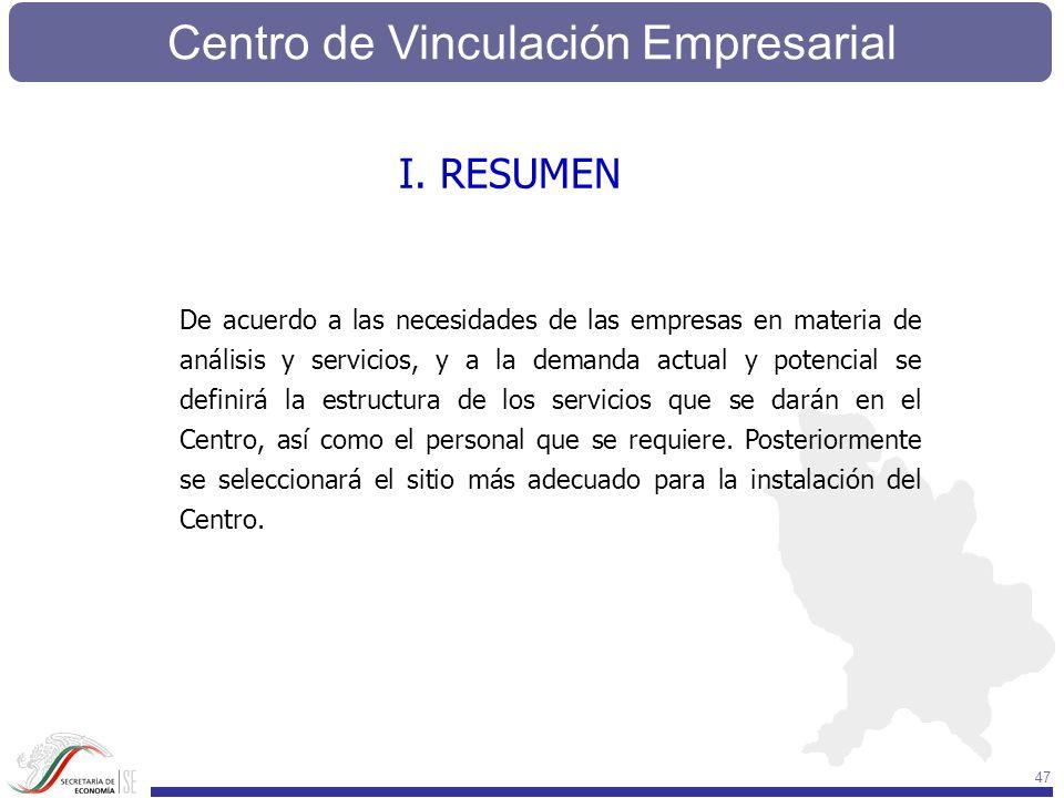 Centro de Vinculación Empresarial 47 I. RESUMEN De acuerdo a las necesidades de las empresas en materia de análisis y servicios, y a la demanda actual